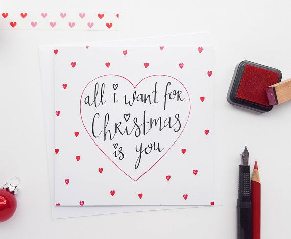 Hand Drawn All I Want For Christmas Card Girlfriend Christmas Cardboyfriend Christmas Cardwife Christmas Cardhusband Christmas Card