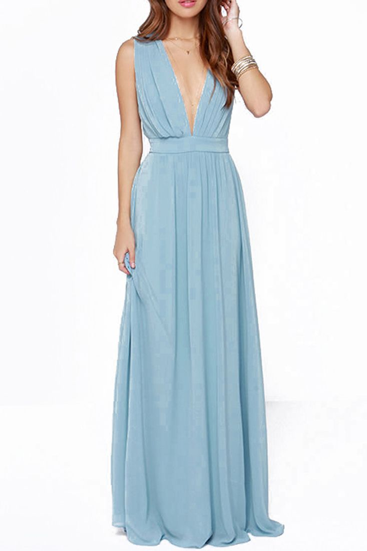Elegant Deep V Neck Sleeveless Backless Maxi Chiffon Party Dress ...