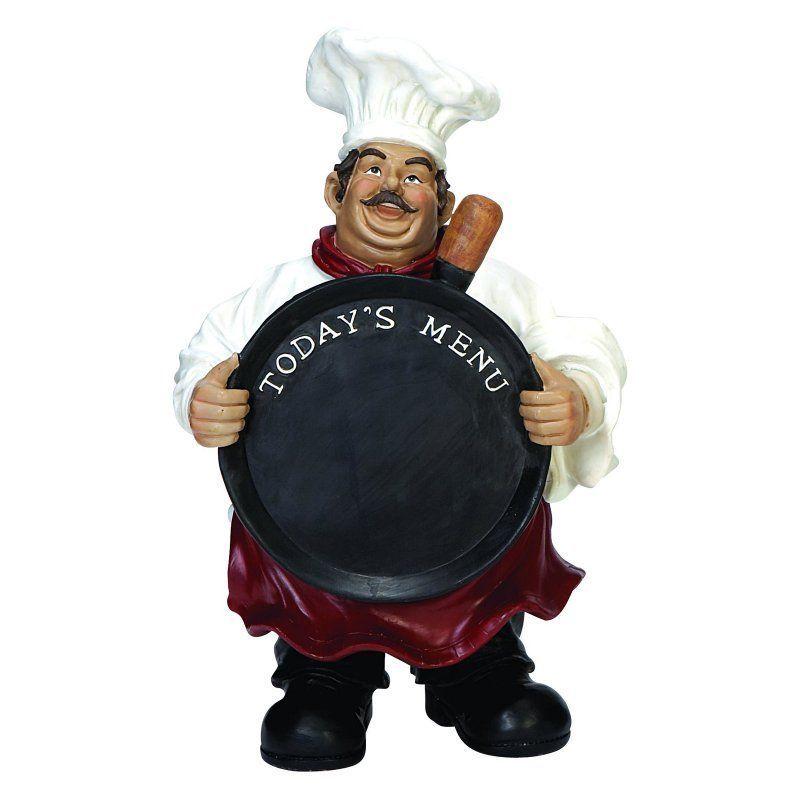 Decmode Todays Menu Chalkboard Chef Statue 35538