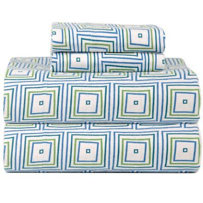 Celeste Home Celeste Home Ultra Soft Flannel Matrix Cotton Sheet Set Size: Queen
