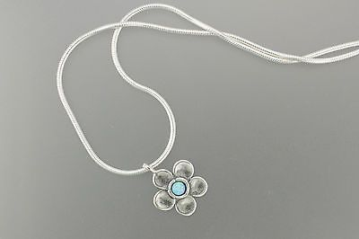 "Shablool Handcrafted Opal Sterling Silver Flower Daisy Necklace 16"" N00122OP NEW"