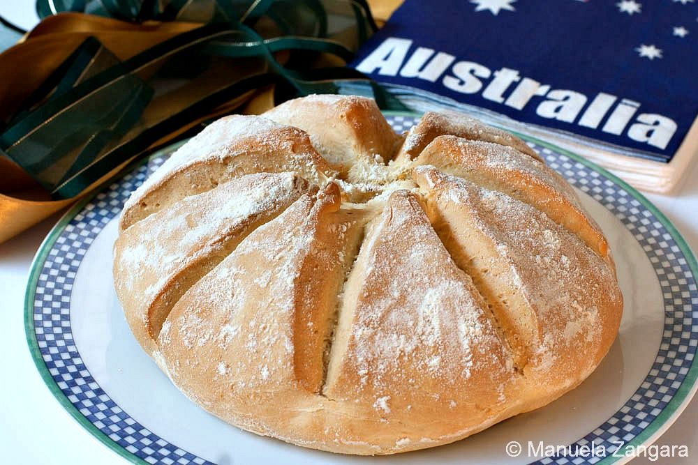 Damper soda bread and soda for Australian traditional cuisine