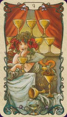 Nine of Cups ~ Tarot Card by Mucha