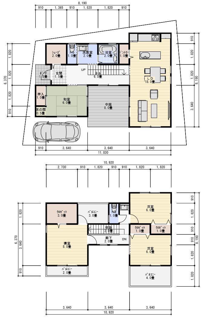 コの字型の中庭のある家の間取り 間取り 中庭のある家 家の間取り