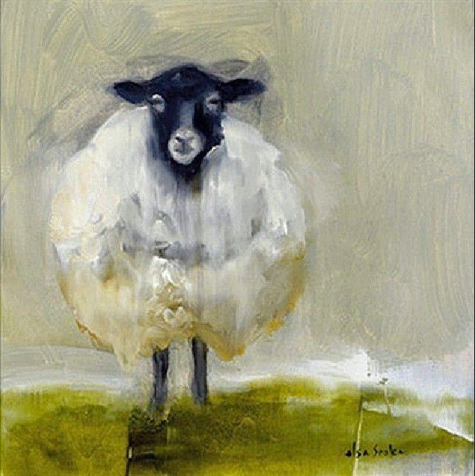 "Sheepish by Elsa Sroka Oil ~ 8"" x 8"""