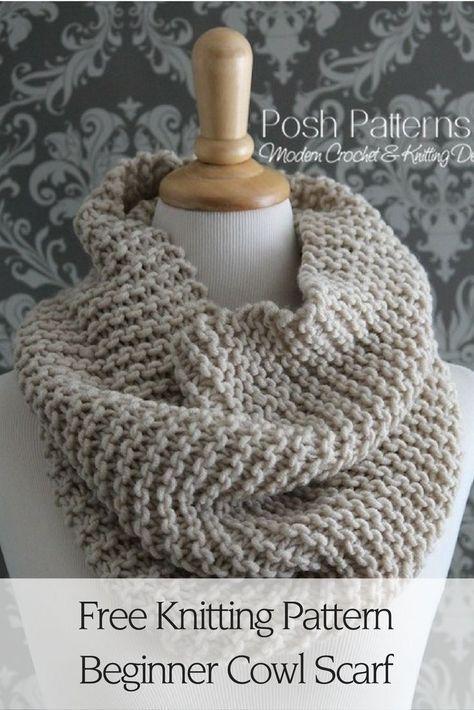 Beginner Knit Cowl Pattern Knitting Pinterest Beginner