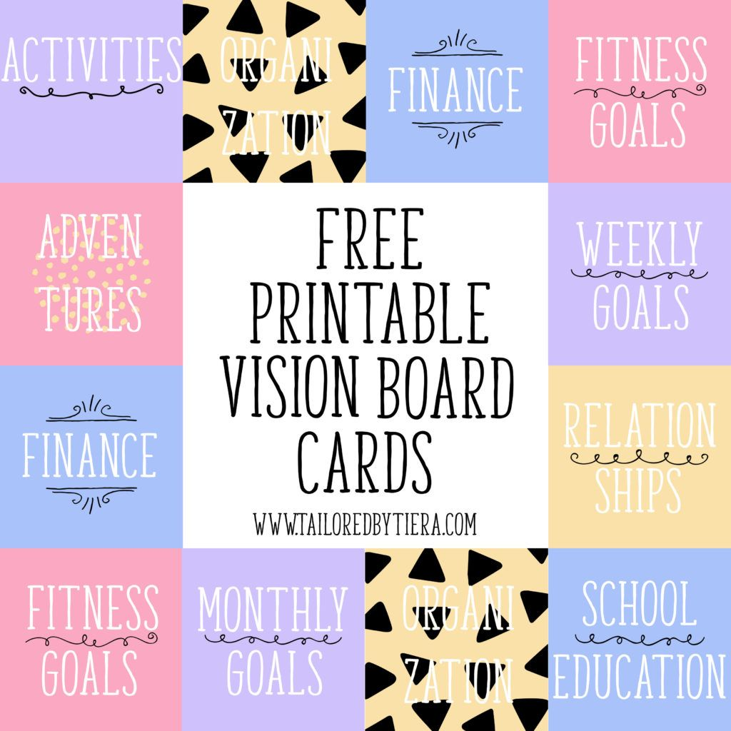 Vision Board Cards Setting And Maintaining Goals
