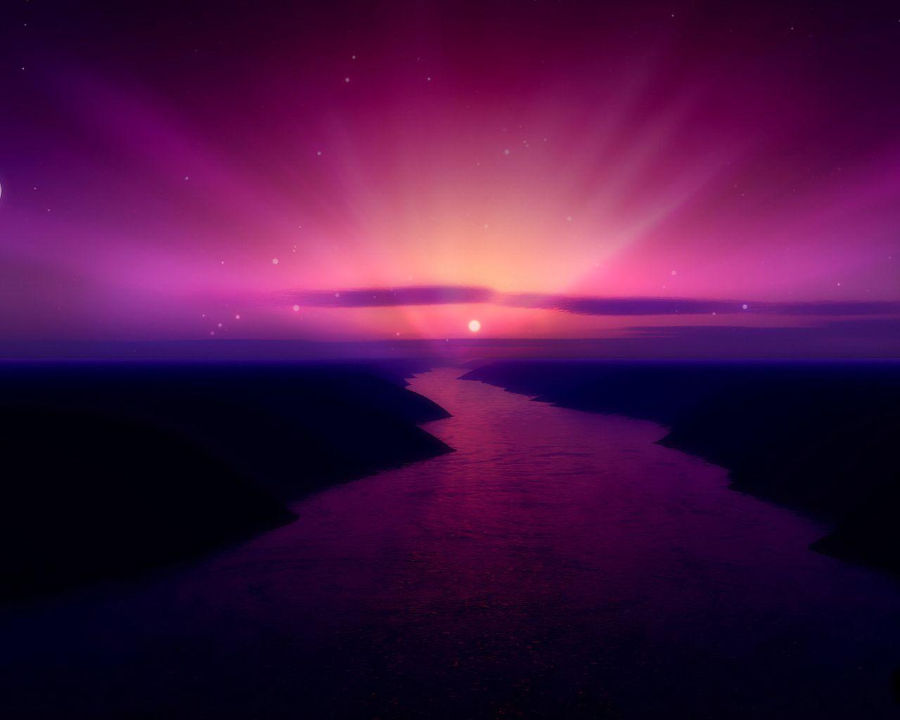 Purple Fantasy Landscape Wallpaper Desktop Background