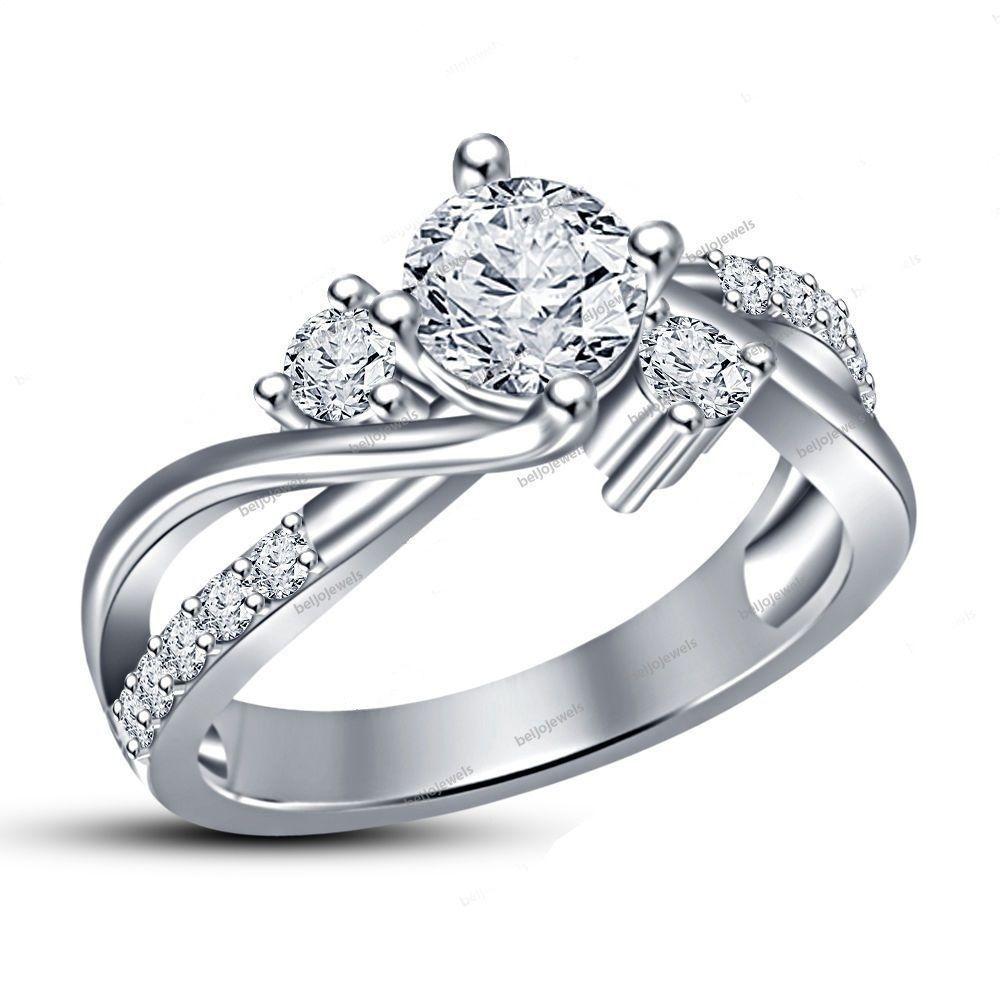 14k White Gold Plated 2ct Round Cut Simulated Diamond Three Stone Engagement Ring