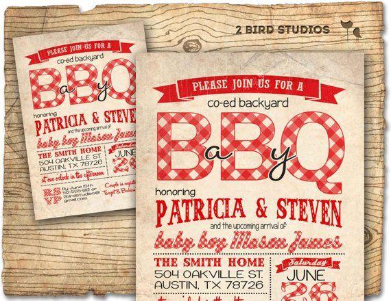 Bbq Baby Shower Invitation Q Coed S Invite Diy Chalkboard Pri