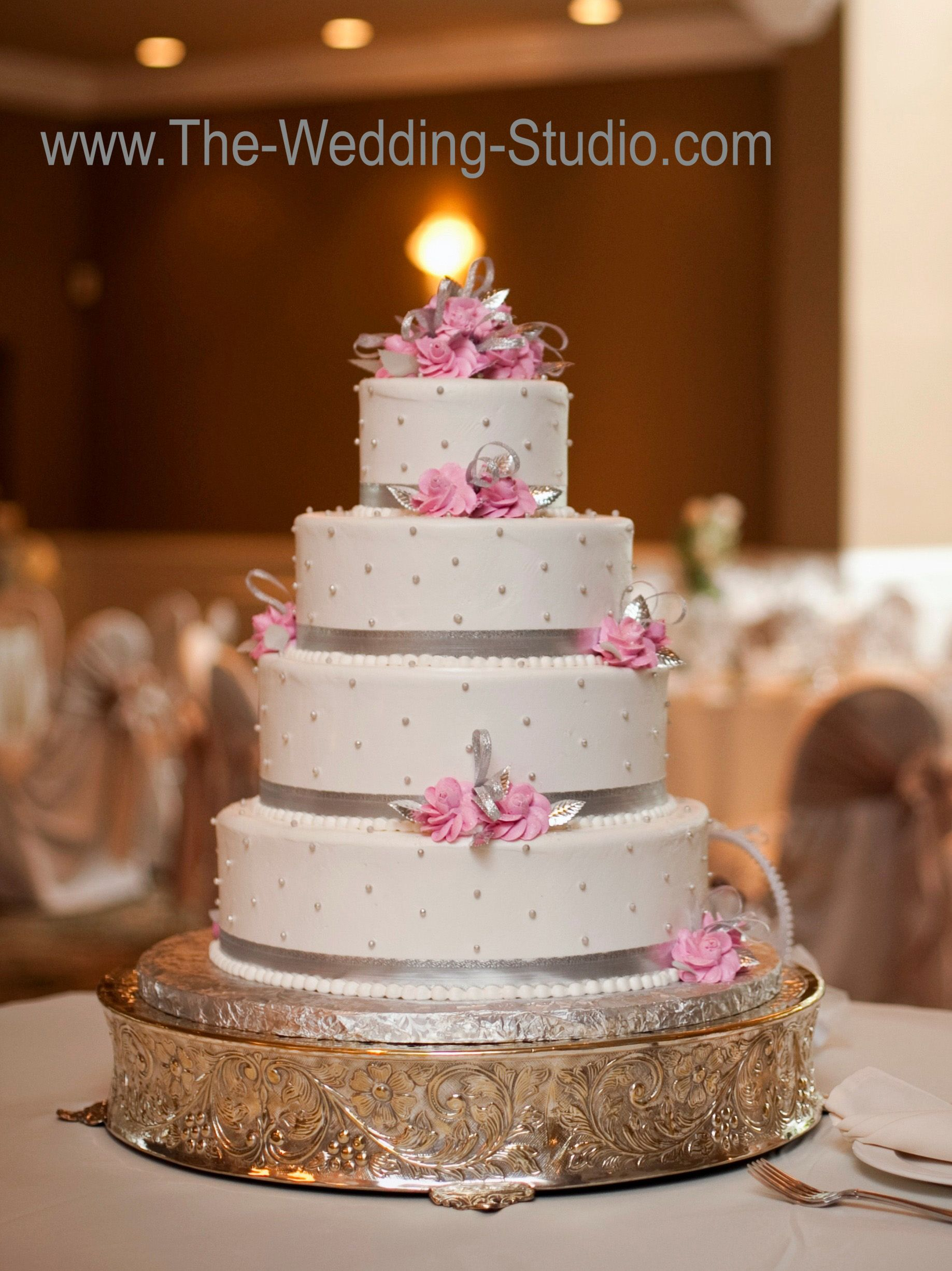 White Wedding Cake With Silver Ribbons Pink Flowers So Pretty
