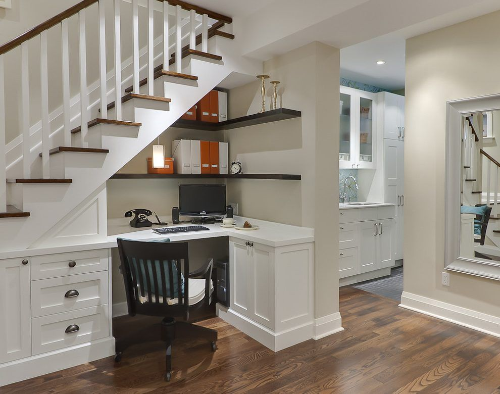 Genial Basement Stairs Ideas Home Office Traditional With Open Concept Adjustable  Height Banker S Chairs