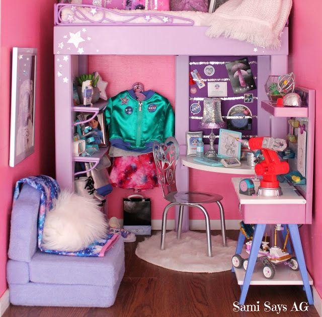 Sami Says AG- American Girl Doll House Bedroom-  Luciana Vega-  Space Galaxy Room #americangirldollcrafts