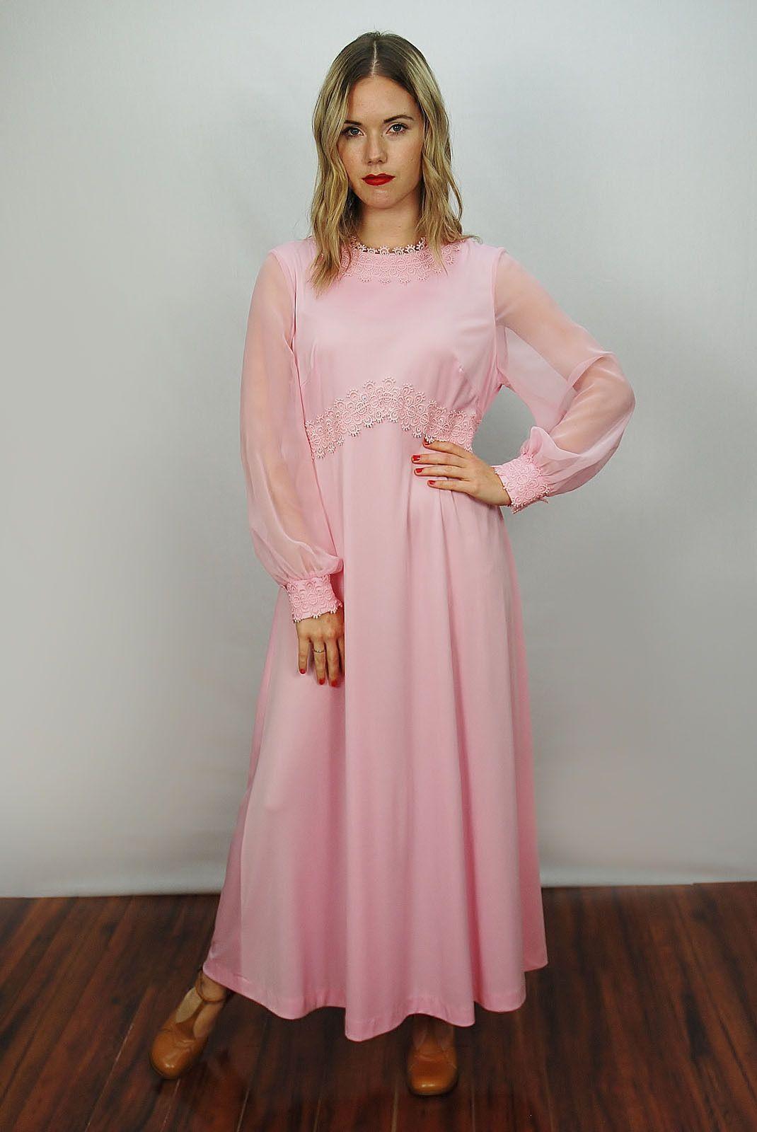 Vtg 70s Pink Empire Chiffon Floral Trim Draped Hippie Bridal Maxi ...