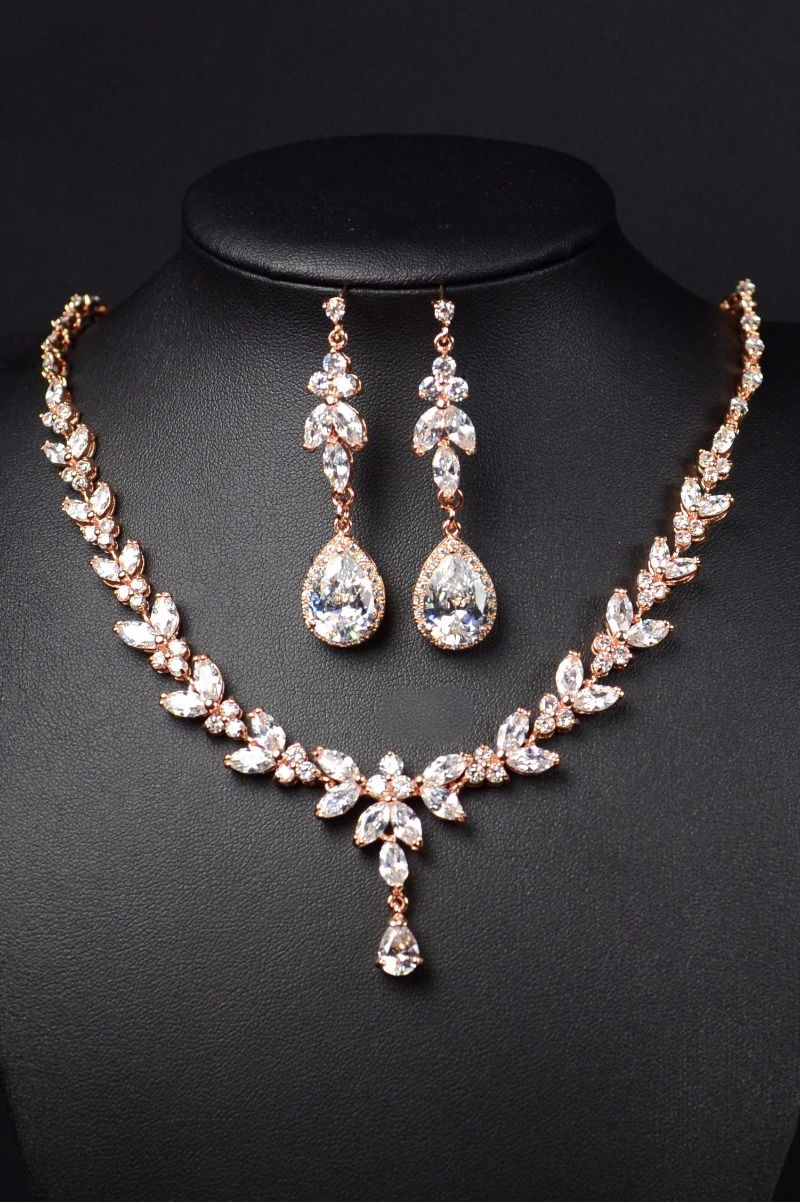 Rose Gold Bridal Bridesmaid Jewelry Set Long Earrings