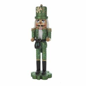 Kurt Adler 15-Inch Wooden Irish Nutcracker on Shamrock Base by Kurt Adler. $25.16. 15-inch in height. Glitter accents. Beautifully detailed. This kurt adler 15-inch wooden irish nutcracker on shamrock base is a fun, festive way to add to your holiday décor or nutcracker collection. This glittering nutcracker shines in green, wears a tall gold shamrock hat, and holds a  pot of gold - perfect for celebrating your irish heritage!