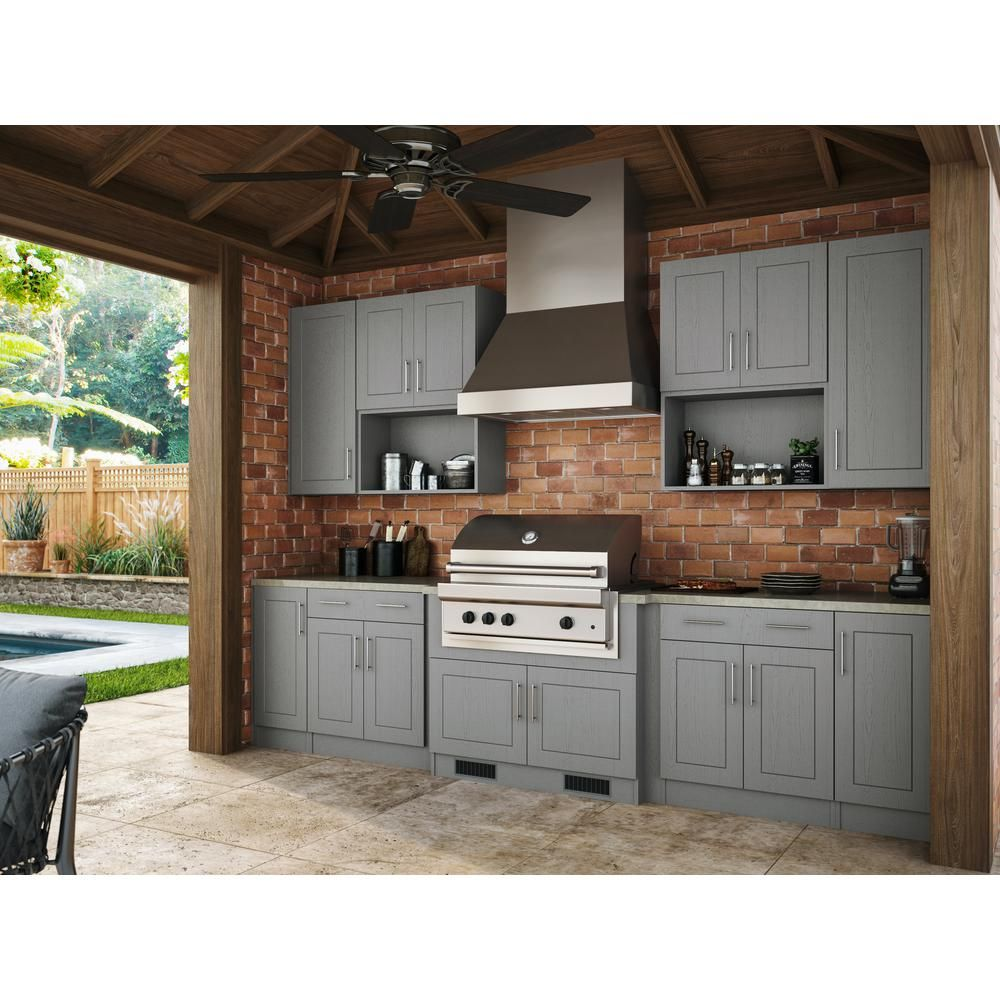 Weatherstrong Assembled 15x30x12 In Palm Beach Open Back Outdoor Kitchen Wall Cabinet Wit In 2020 Outdoor Kitchen Patio Outdoor Kitchen Decor Outdoor Kitchen Cabinets