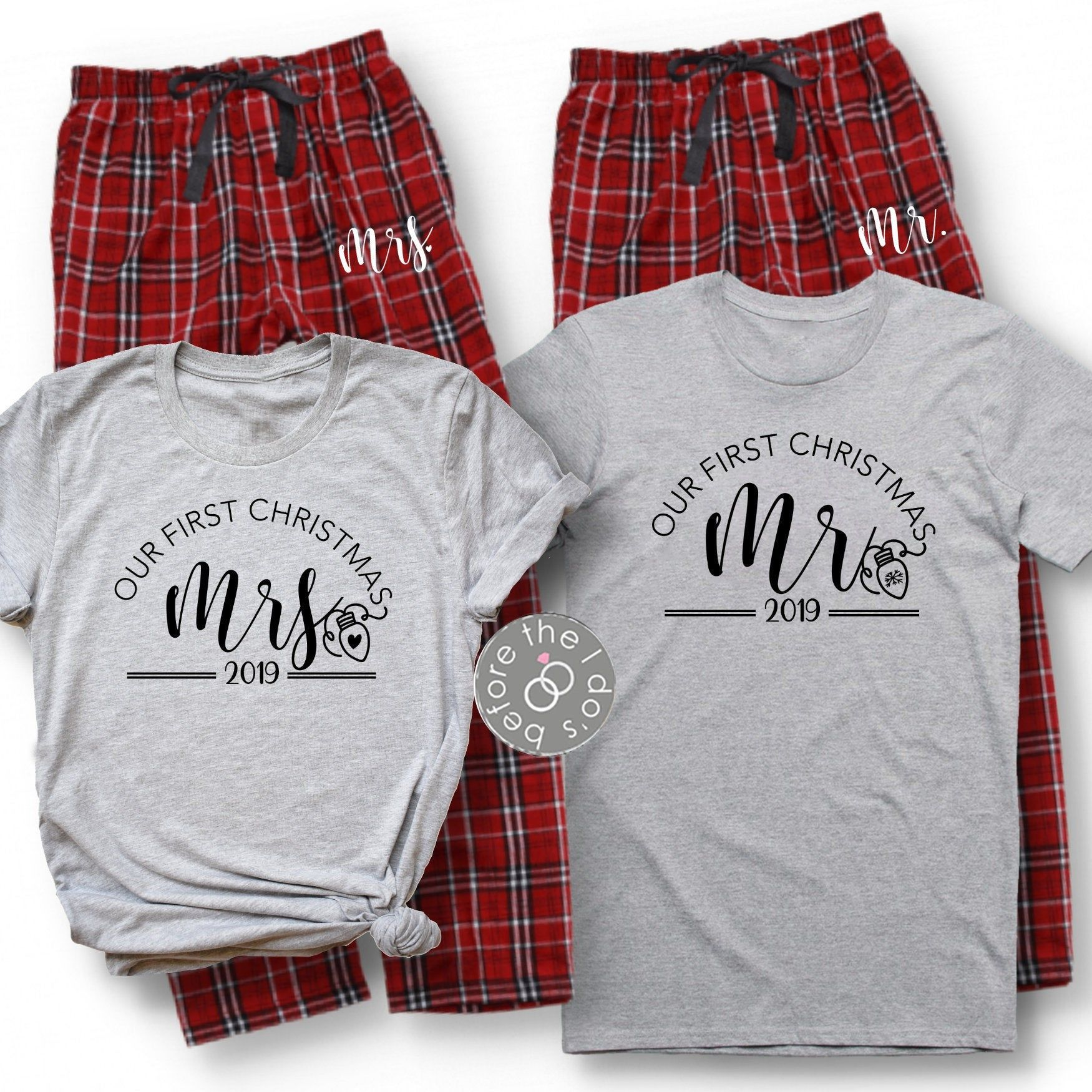 couple shirts his and hers married Christmas Our first Christmas matching Christmas Day shirts family matching Christmas shirts