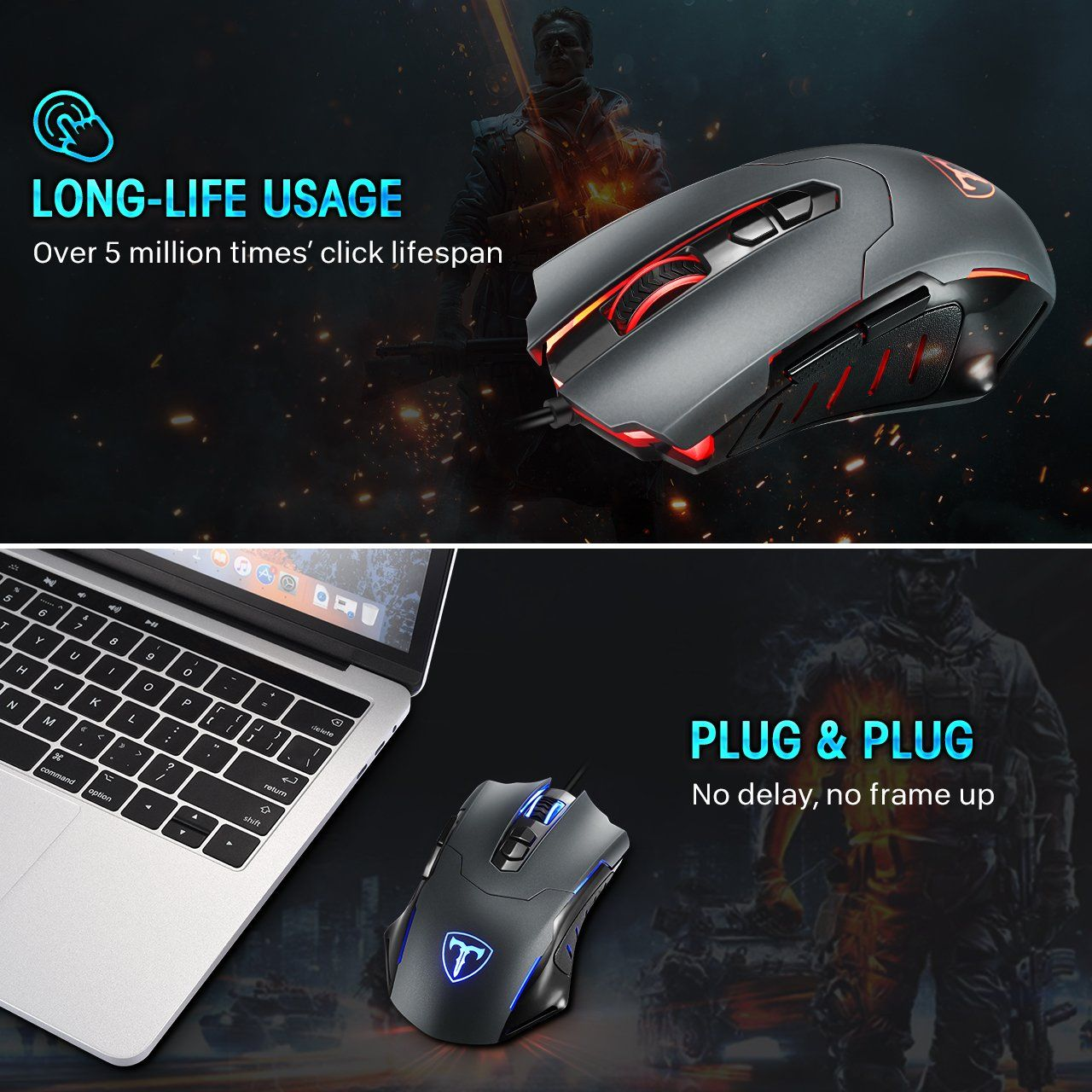 Pictek Gaming Mouse Wired 7200 Dpi Programmable Breathing Light Ergonomic Game Usb Computer Mice Rgb Gamer Desktop L Mouse Computer Gaming Mouse Computer