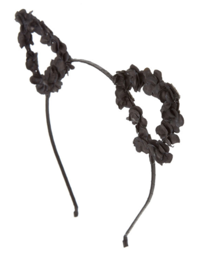 Look Cute As A Kitten With This Black Headband Black Flowers Line The Open Cat Ears The Sit On Top Of A Cat Ears Headband Hair Band Accessories Black Flowers