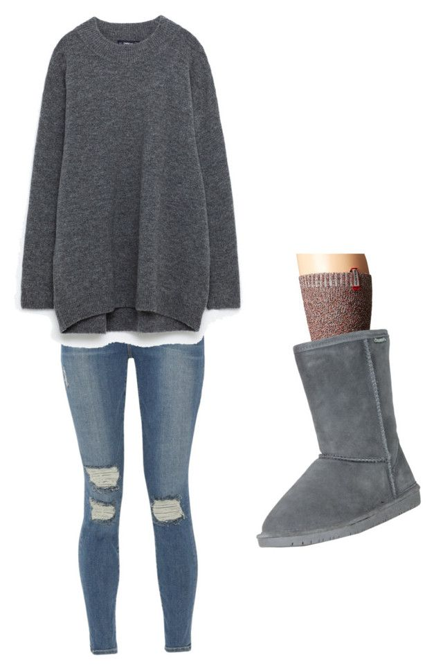 """How to where a big sweater"" by scssalgado on Polyvore featuring Frame, Hunter and Bearpaw"