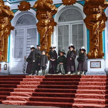 otmaplusalexei edit of Russian Imperial family at an official occasion at the Catherine Palace, 1912 by otmaplusalexei from Instagram
