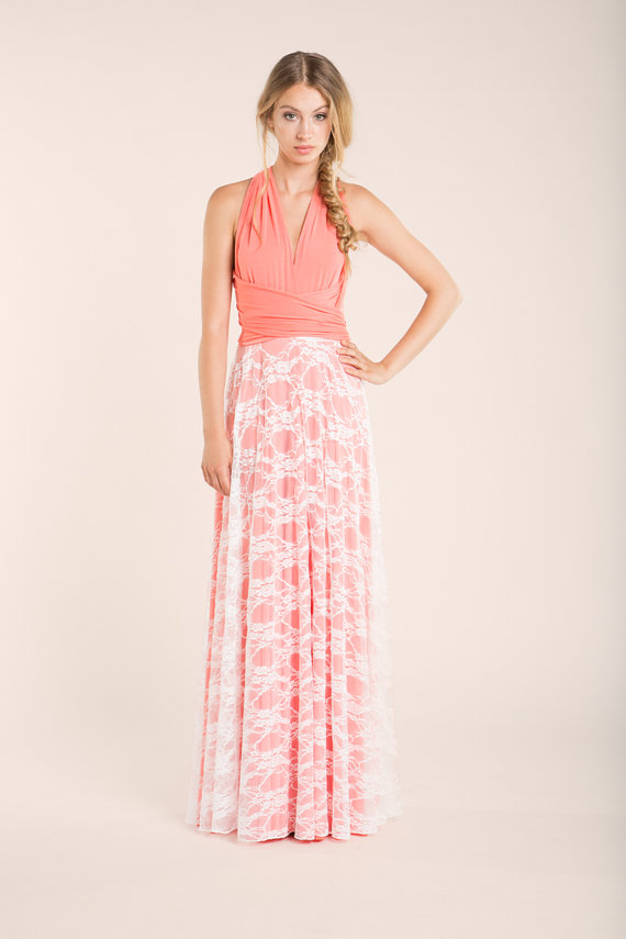 Peach Bridesmaid Coral Dress bridesmaid lace dresses by mimetik ...