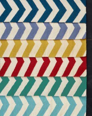Chevron Stripe Flat-Weave Wool Rug - in Emerald
