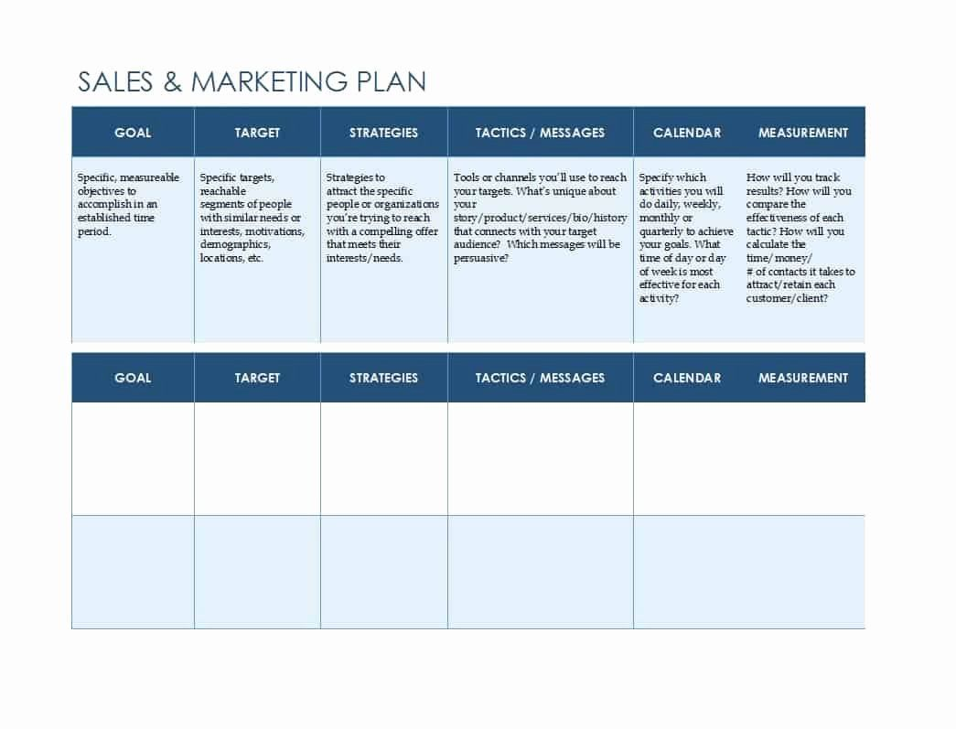 sales and marketing plan template free