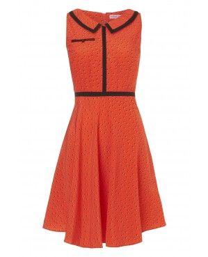 239 - Having Your Collar Felt Dress - Coral Spotty Dotty