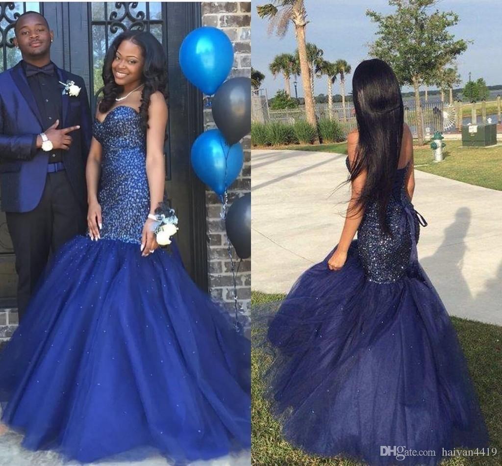 Dark Blue Mermaid Prom Dress Sweetheart
