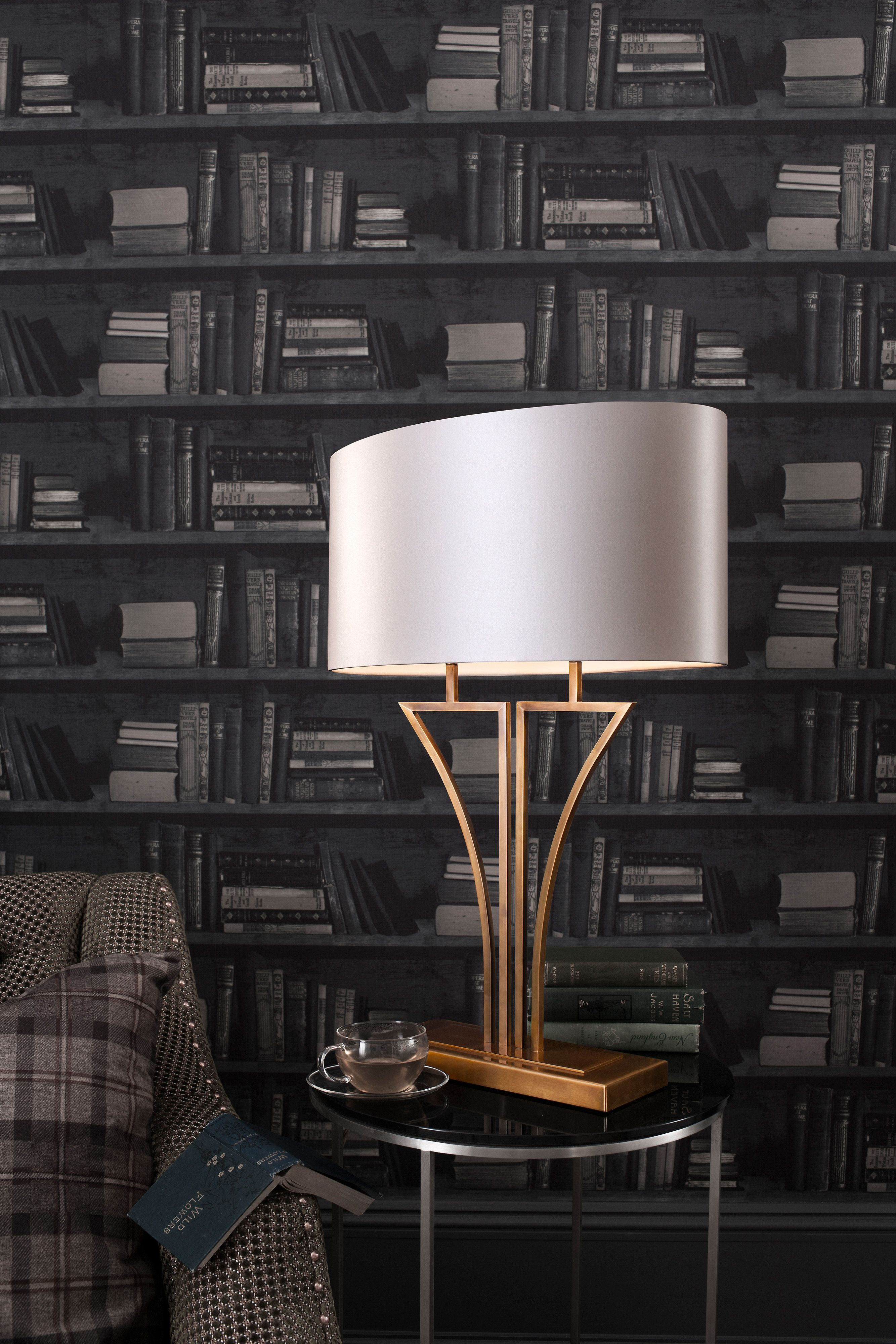 Yves Antique Brass Table L& Strong curves and lines using square section tubing give this Deco inspired form a real visual impact. & Yves Antique Brass Table Lamp Strong curves and lines using square ...