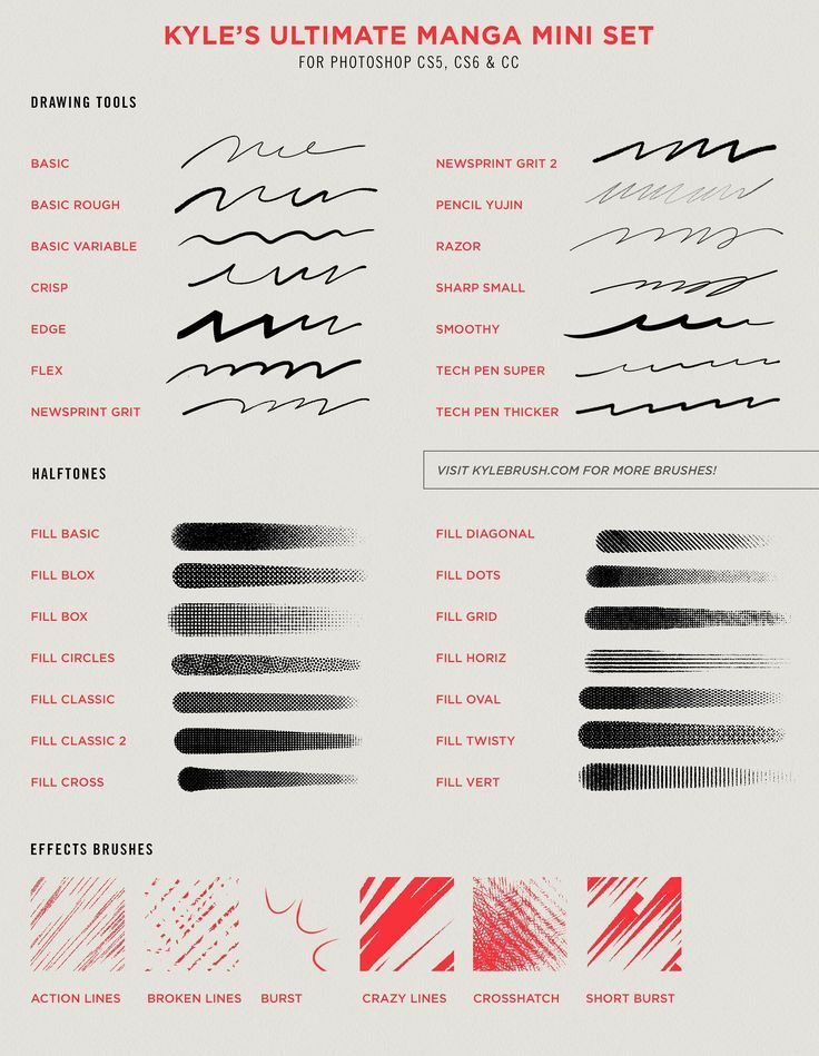 Kyle's MANGA Brushes for Photoshop! New brush set specifically