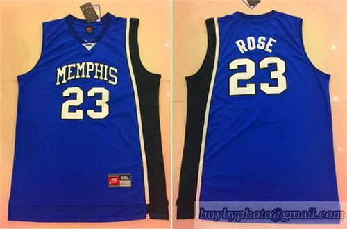 cc761e9d NBA NCAA College Memphis Tigers #23 Derrick Rose Jerseys Blue | Hot ...