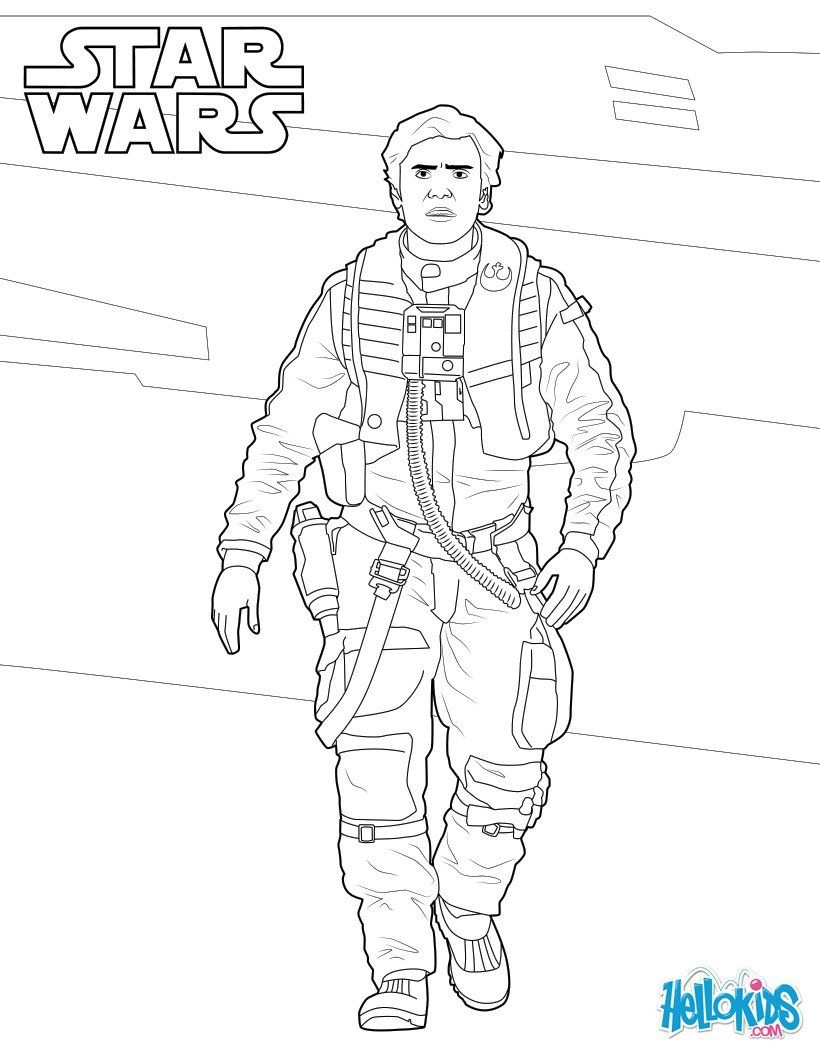 Poe Dameron Coloring Sheet From The Force Awakens Star Wars Movie More Star Wars Content On Hellokids Com Star Wars Drawings Coloring Pages Dora Coloring