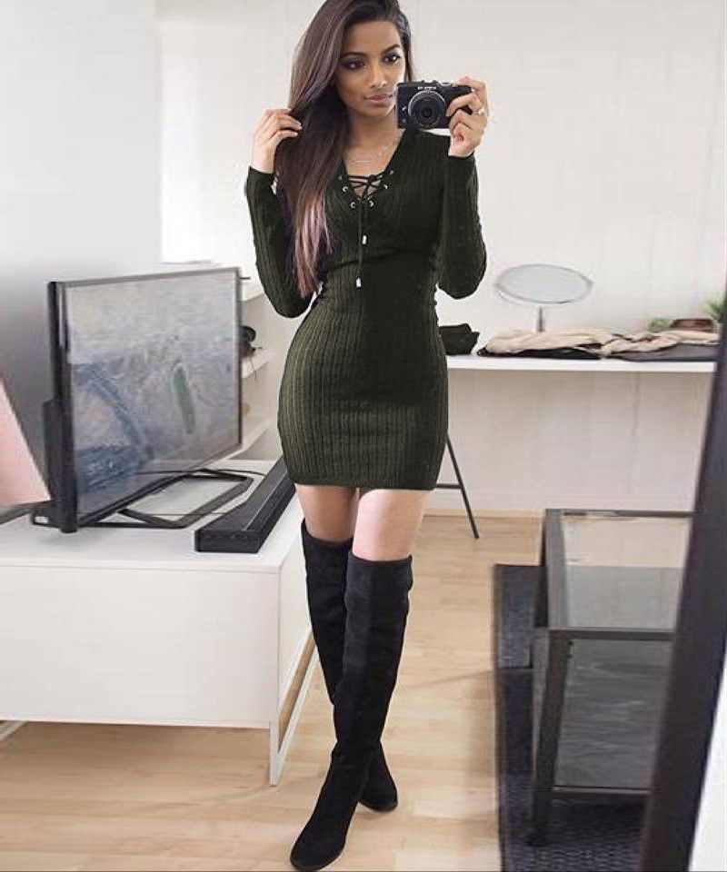 f610d5a3ba8 Aliexpress.com   Buy Ladies Sexy V Neck Sweater Dress Autumn Winter 2016  New Long Sleeve Women Bodycon Criss Cross Party Knitted One piece Dresses  from ...