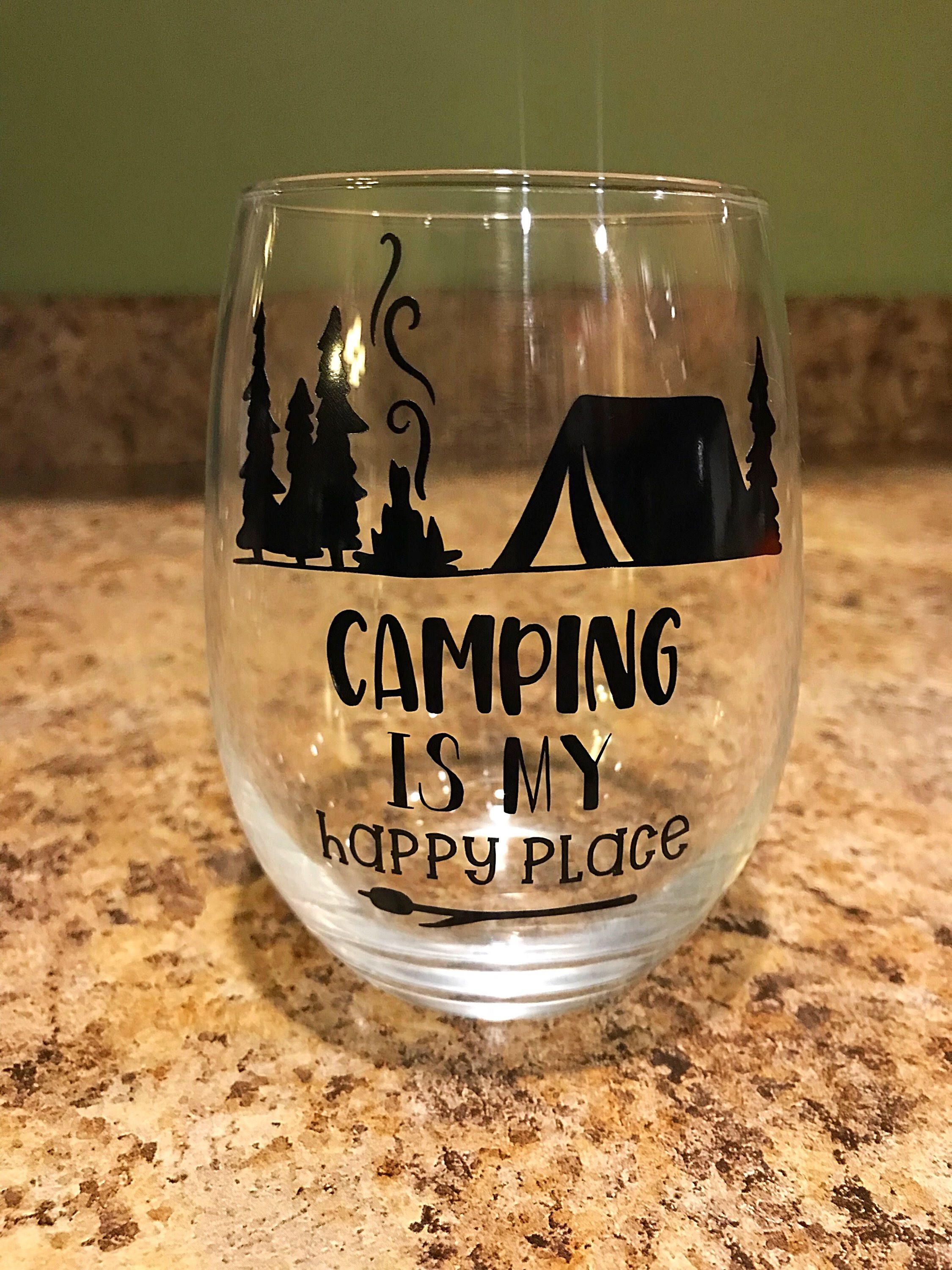 Camping Is My Happy Place Stemless Wine Glass W Decorative Vinyl