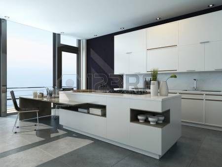 Intérieur de cuisine en noir et blanc avec des meubles modernes