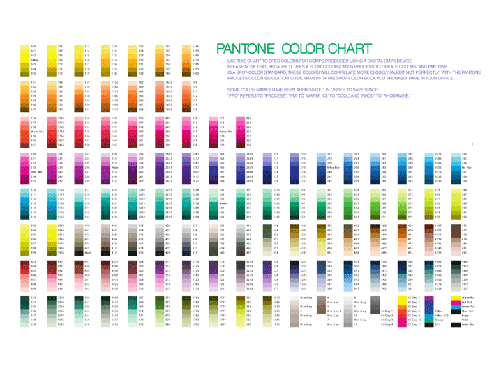 Preview of the Free Pdf Doc \'\'Pantone Color Chart\'\' (1 Page) from ...
