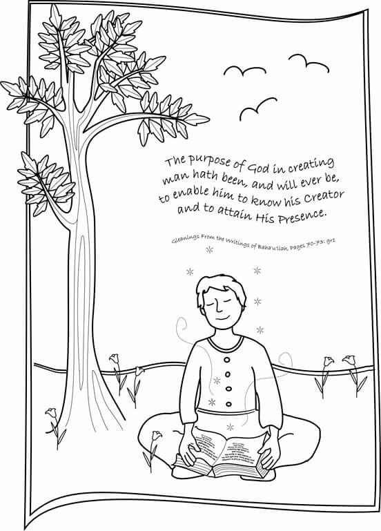 lovely colouring page for bahai childrens classes grade 3 unit 2 lesson