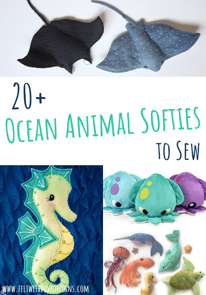 Ocean Animal Softies Sewing Patterns - Felt With Love Designs