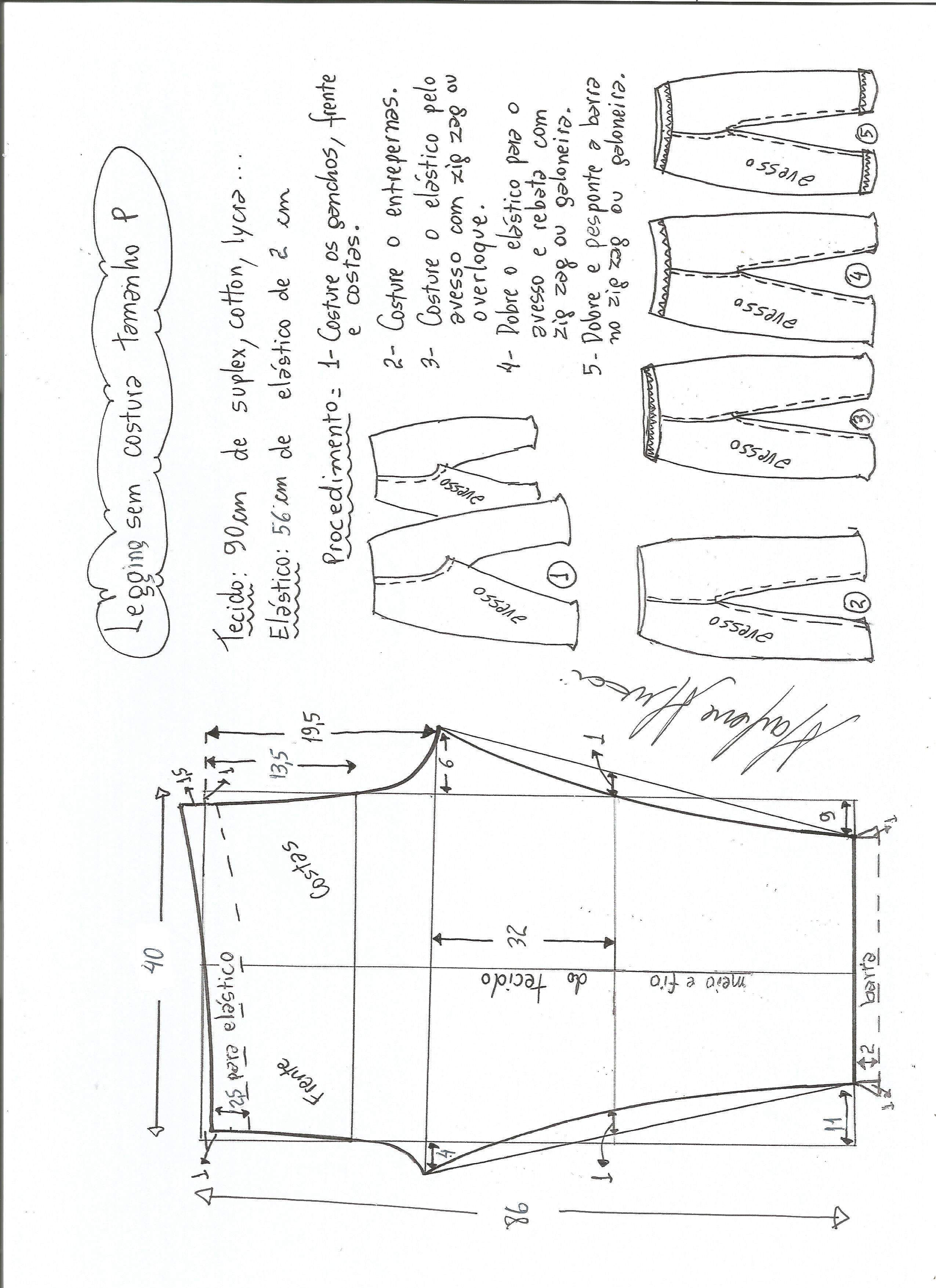 Patrón de legging sin costura lateral | PANTALONES CON PATRONES ...