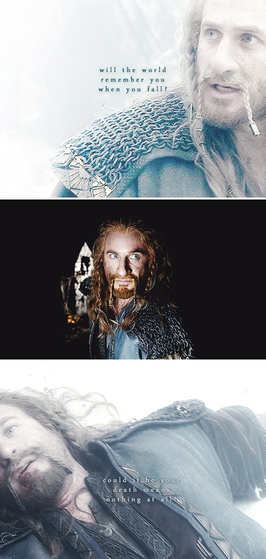 Spoiler alert in the last movie fili kili and thorin die and the dwarves are looking after thorin tauriel at kili but then there's fili no one is looking after him no one is sad about him NOBODY