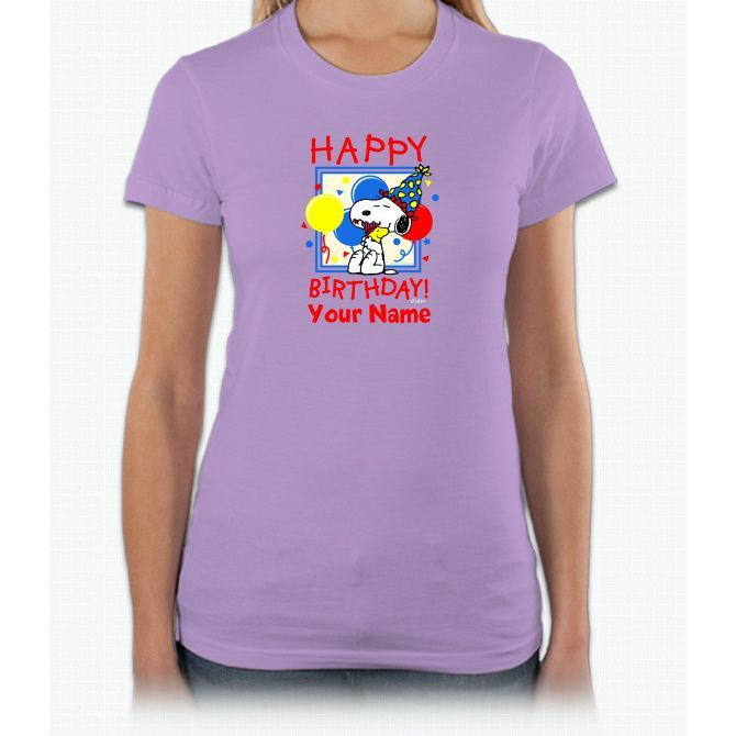 Peanuts Happy Birthday Red Personaliz Charlie Brown Short Sleeve Women T-Shirt