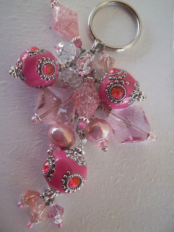 Luxurious Pink Beaded Keychain.