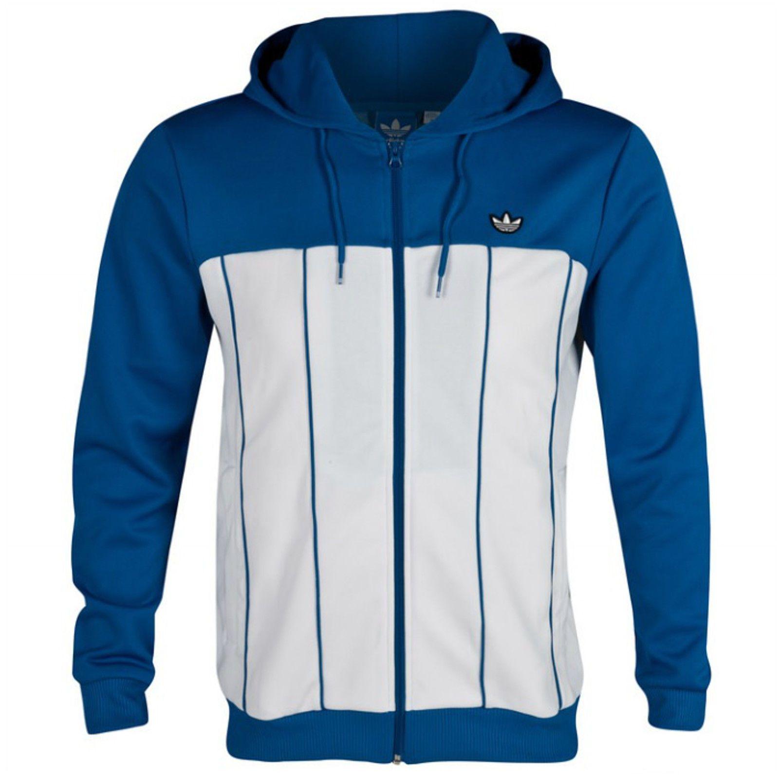 Hombre adidas Originals GRIS Hoodie Hoody Azul sudadera blanca Top