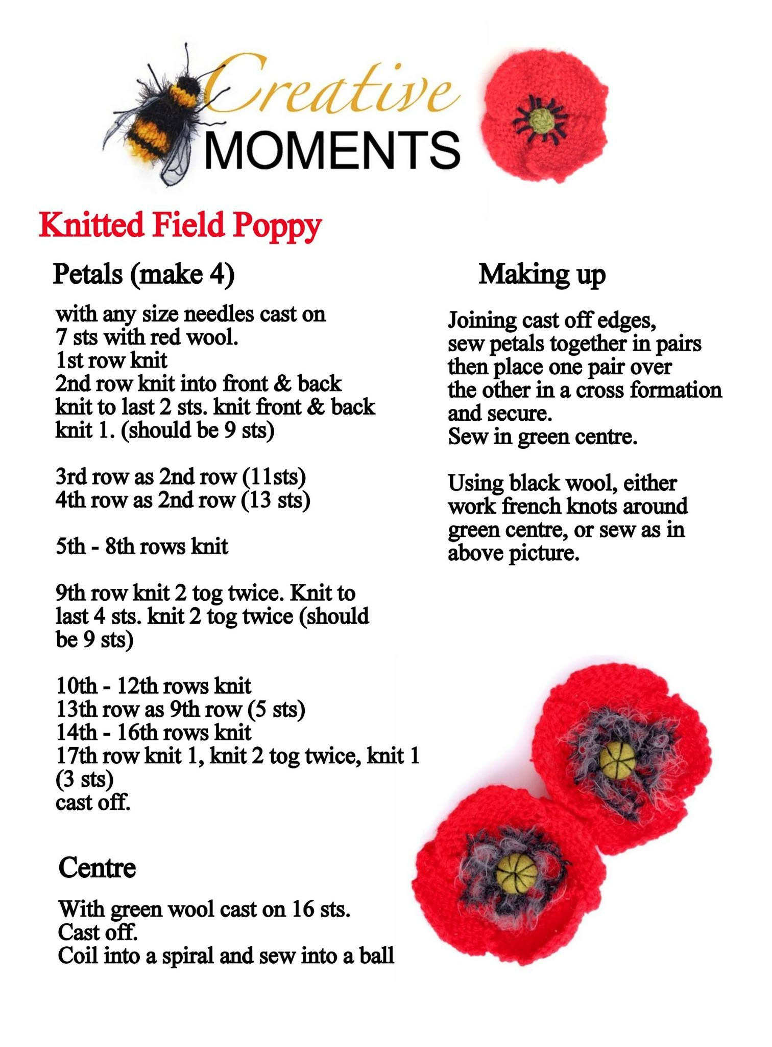 Knitting pattern for a knitted and crochet poppy