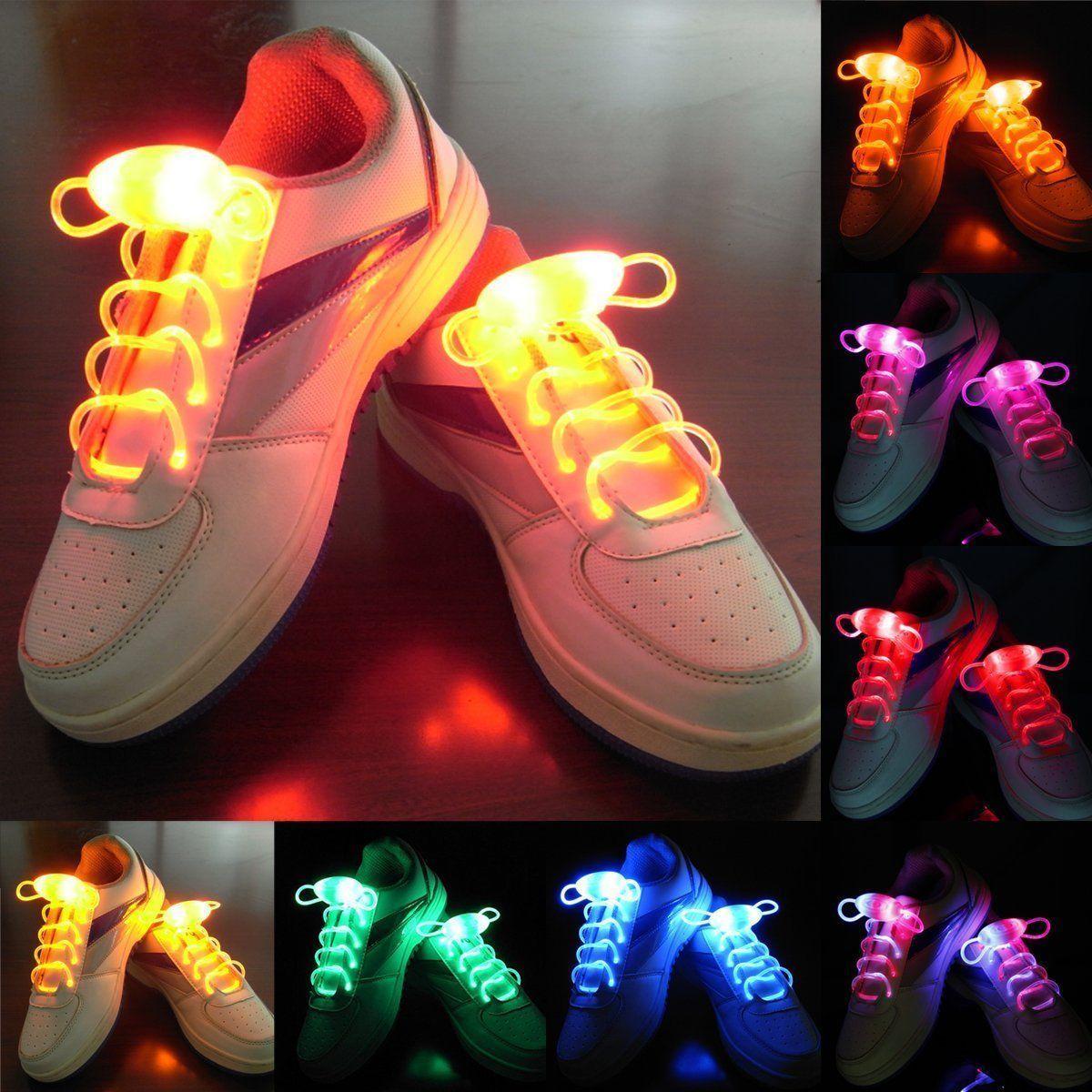1 Pair LED Light Up Shoe Laces LEDTransparent Plastic Shine Shoelaces