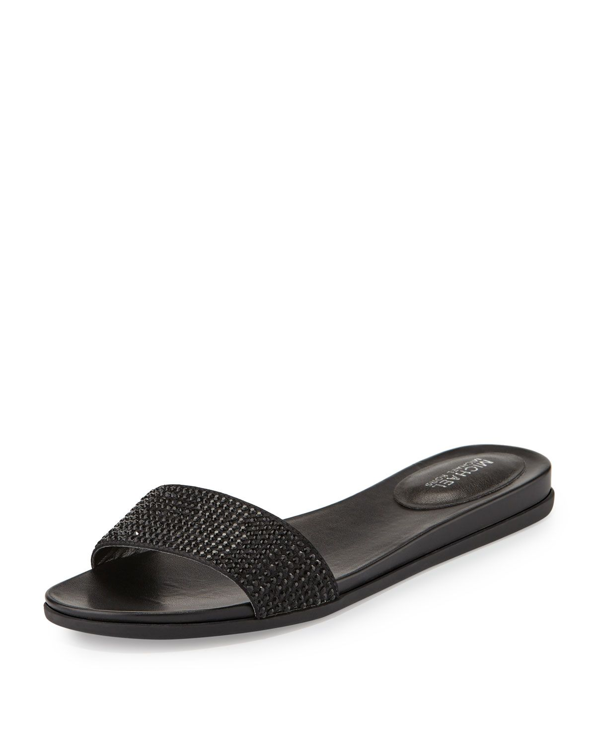 MICHAEL Michael Kors Eleanor Crystal Flat Slide Sandal, Black