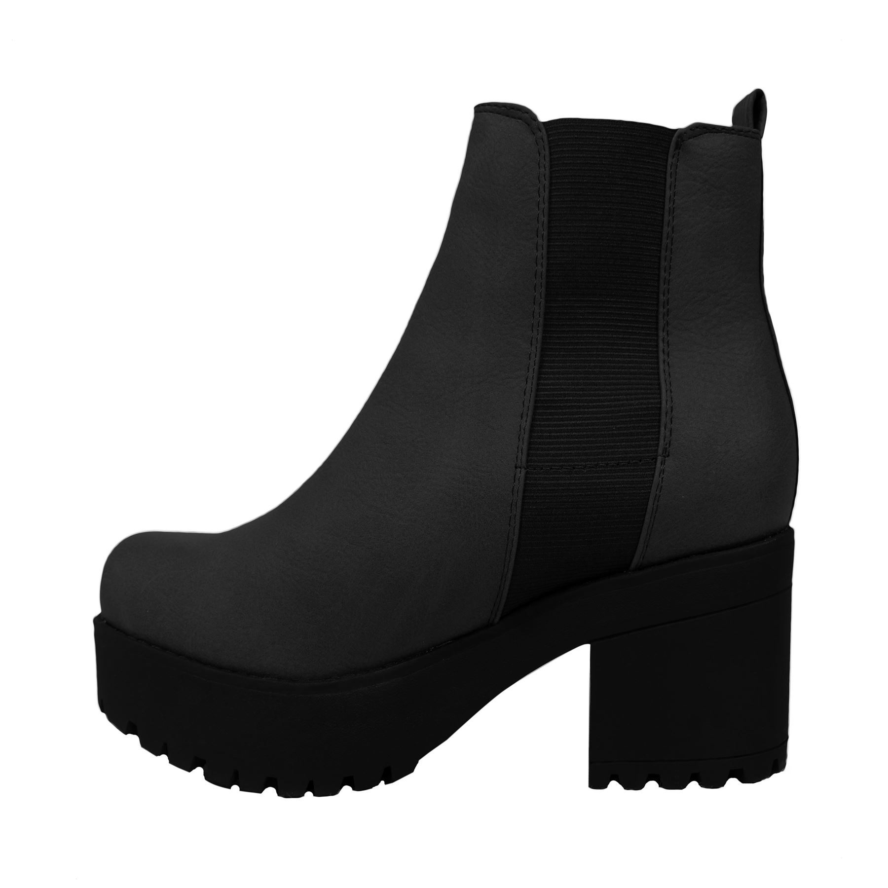 427ed71dbef30 Ladies-Womens-Mid-Block-Heel-Ankle-Boots-Chunky-Platform-Chelsea-Shoe -Size-3-8